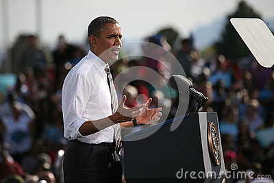 Candidato presidencial Barack Obama Foto editorial