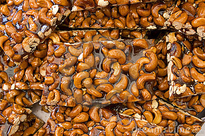 Candied pecan nuts sugared mediterranean food