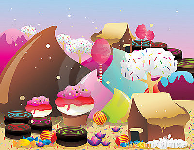 Candies and donuts landscape