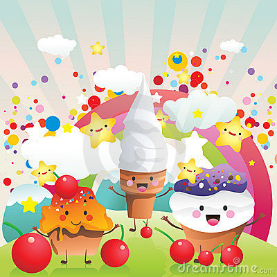 Candies and ice cream vector