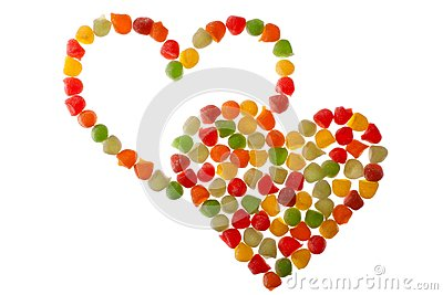 Candies in love shape