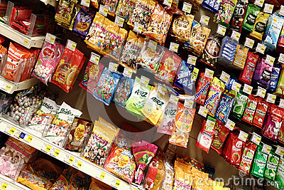 Candies at the supermarket Editorial Stock Image