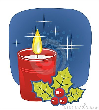 Free Candle And Holly Berry Stock Images - 3898804