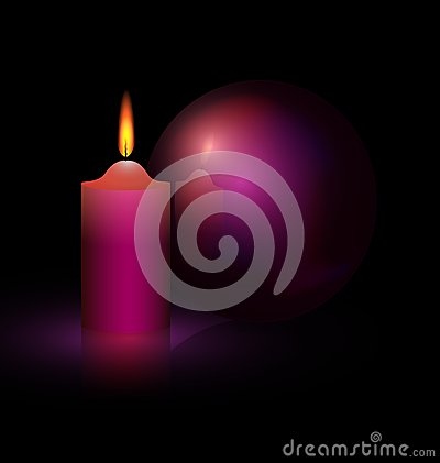 Free Candle And Purple Ball Stock Images - 27010004