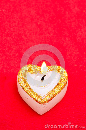 Candle as heart is on