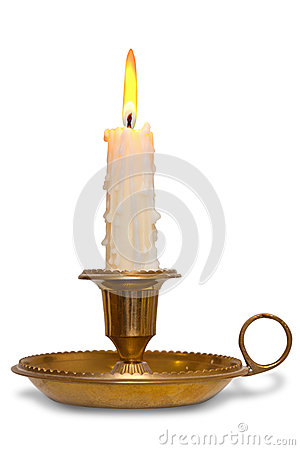 Candle in brass holder