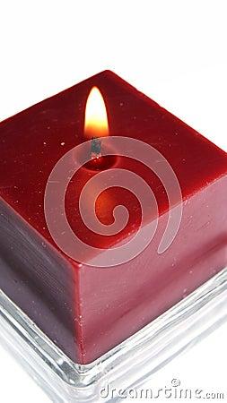 Candle Burning on White