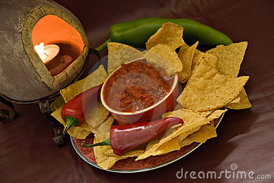 candle, chips and salsa