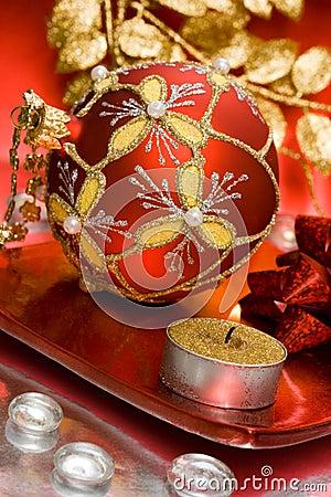 Candle with Christmas ball