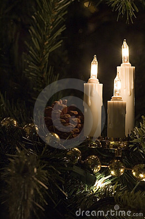 Free Candle Christmas Tree Lights Stock Images - 1583944