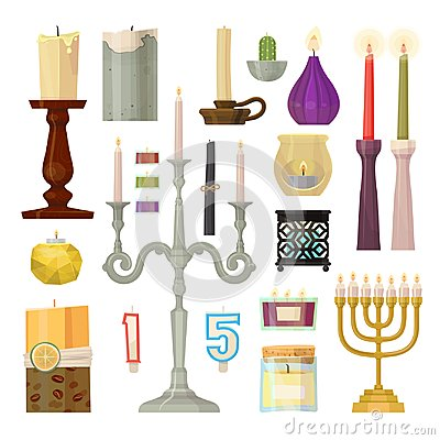 Candle different forms candlelight flame decorative wax candlestick Vector Illustration