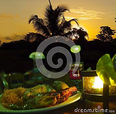 Candle dinner, sunset romance.