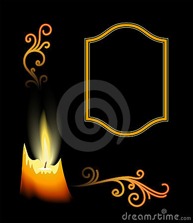 Candle with flourishes on black