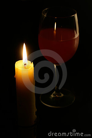 Candle and Glass of Wine Stock Photo