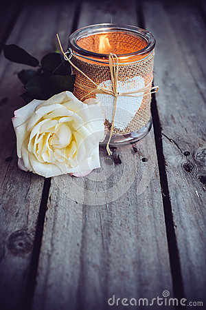 Free Candle In A Decorative Jar Royalty Free Stock Photography - 58652457