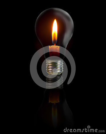 Candle on light bulb