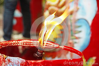 Candle Light on Chinese Temple
