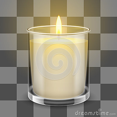 Free Candle Light In A Straight Glass Jar. Vector Realistic Illustration Royalty Free Stock Image - 95249726