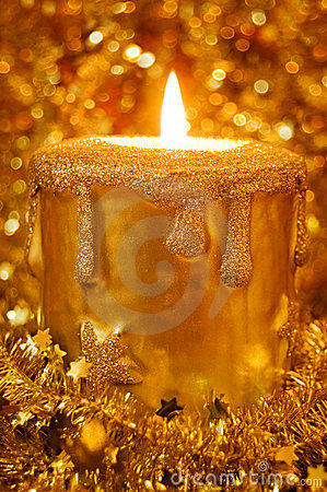 Candle light in sparkles and stars