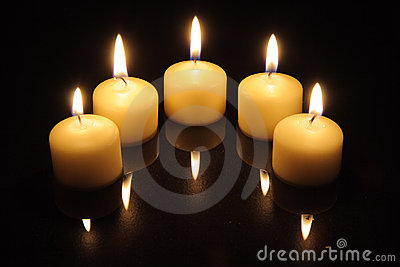 Candle lights with reflections