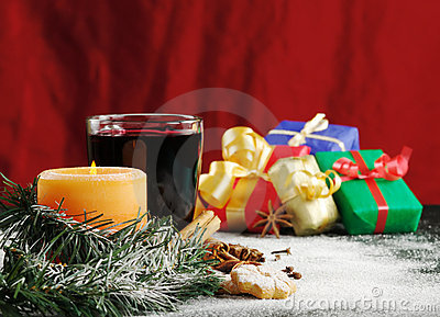 Candle, Mulled Wine and Christmas Gifts