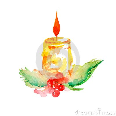 Christmas candle watercolor Stock Photo