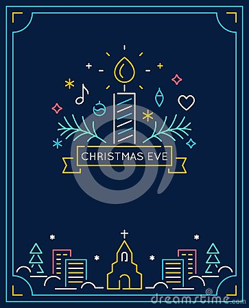Candle and Ornaments, Winter Town and Church Outline. Christmas Eve Candlelight Service Invitation. Line Art Vector Vector Illustration