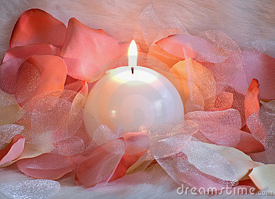 Candle and petals