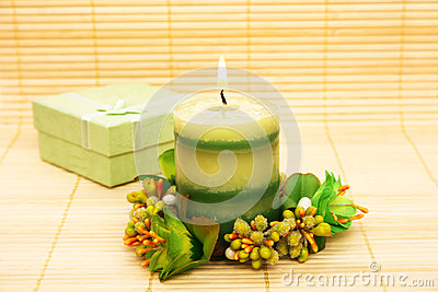 Candle and present box