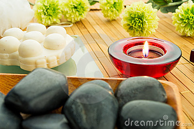 Candle and spa stones