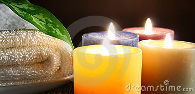 Candle,towel and leaf
