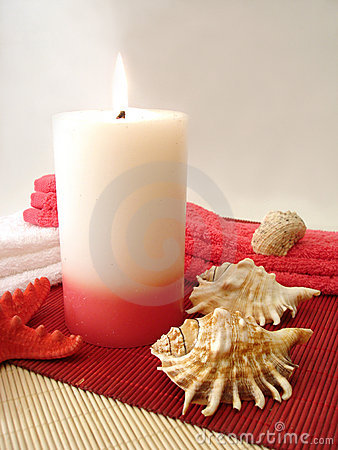 Free Candle, Towels And Seashells Royalty Free Stock Image - 2395976