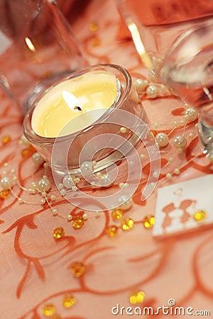 Candle on wedding table