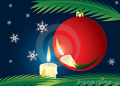 Candle and xmas ball.
