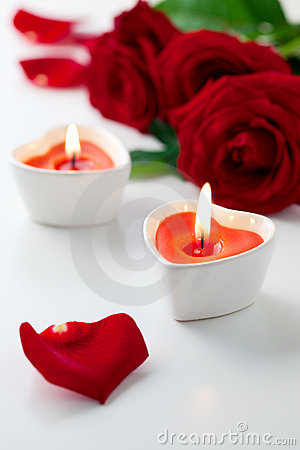 Free Candles And Red Roses For Valentine S Day Royalty Free Stock Image - 21982906