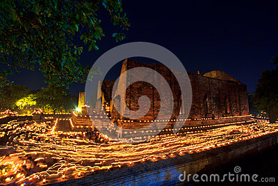 Candles around the ancient temple
