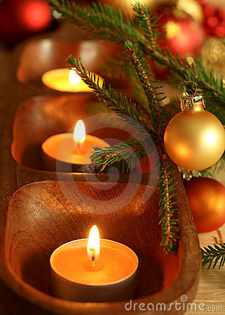 candles, balls and fur-tree branch