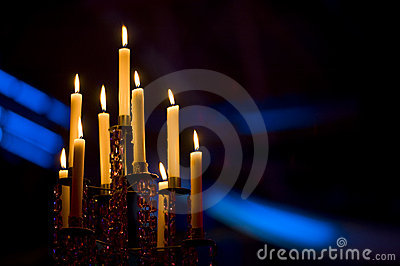 Candles in a candelabra
