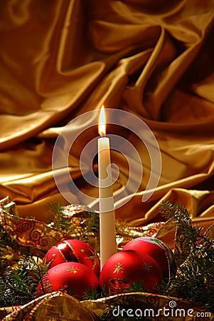 Candles and Christmas balls