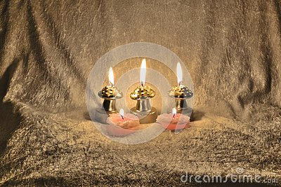 Candles on a fabric