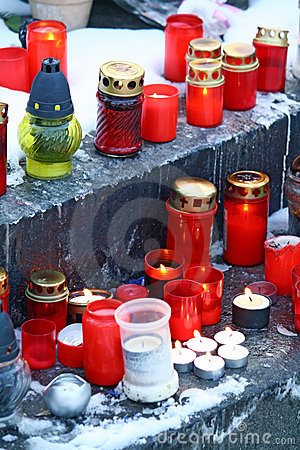 Candles on grave