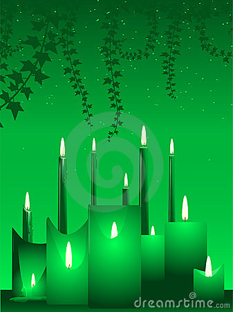 Candles and ivy