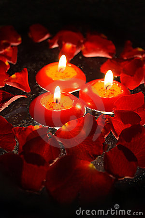 Candles with rose petals