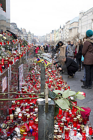 Candles and roses - tribute to Vaclav Havel Editorial Image