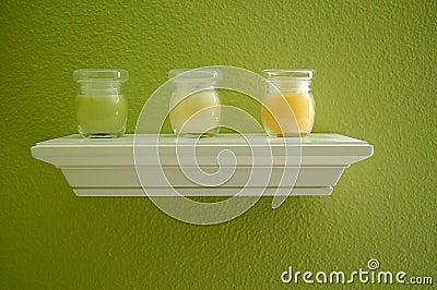 Candles on Shelf