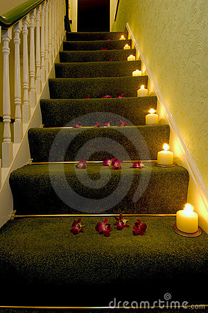 Candles on the stairs