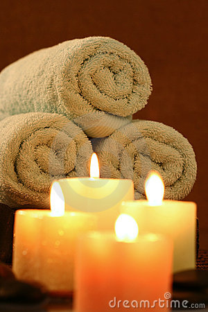 Candles before towel roll