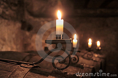 Candles in wine-cellar