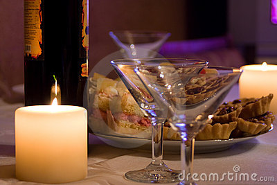 Candles,wine and goblets