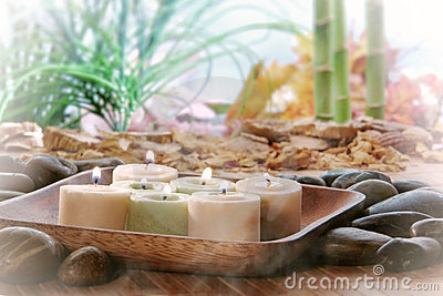 Candles in Zen Garden for Meditation or Relaxation